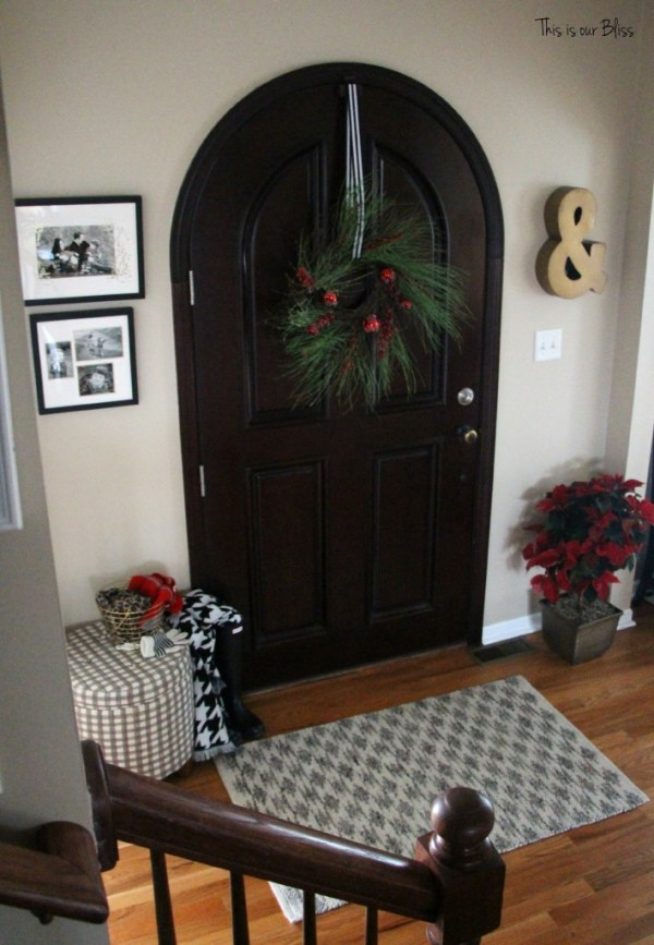holiday home tour - christmas entryway - minted photo gifts - gold foil - christmas front door entryway - This is our Bliss