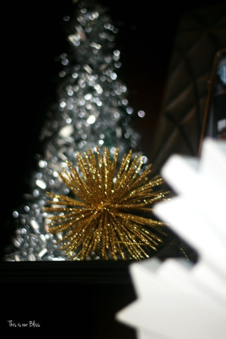 merry bright and blissful holiday home - bookcase decor - shelf styling tinsel tree - easy christmas decor - thisisourbliss.com