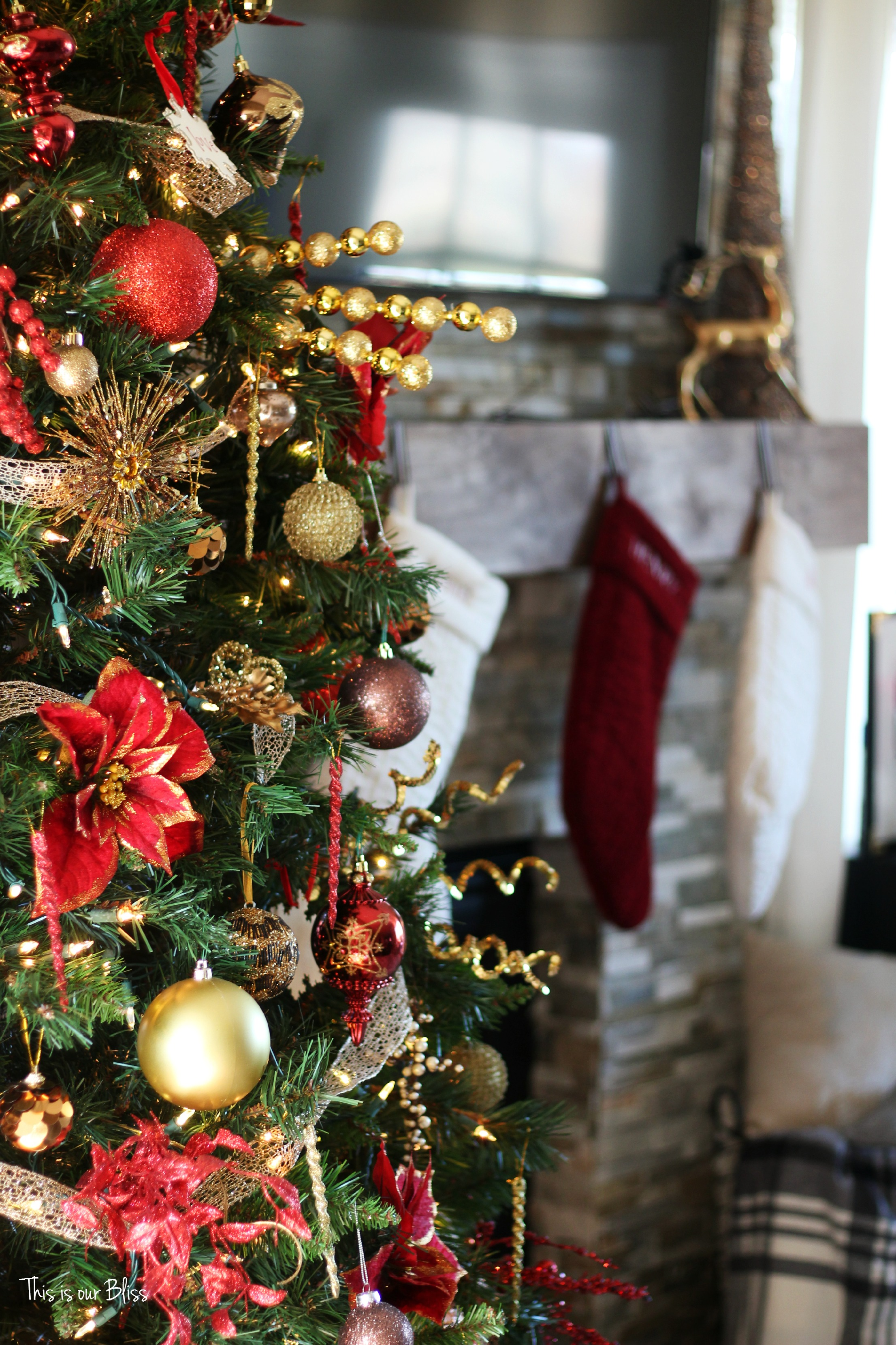 Uncategorized christmas decorations amp holiday decorations - Speaking Of The Tree Here It Is I Added Several Of The Same Gold Sequin Picks From The Formal Living Room Tree Lots Of Red And Gold Ornaments Of All