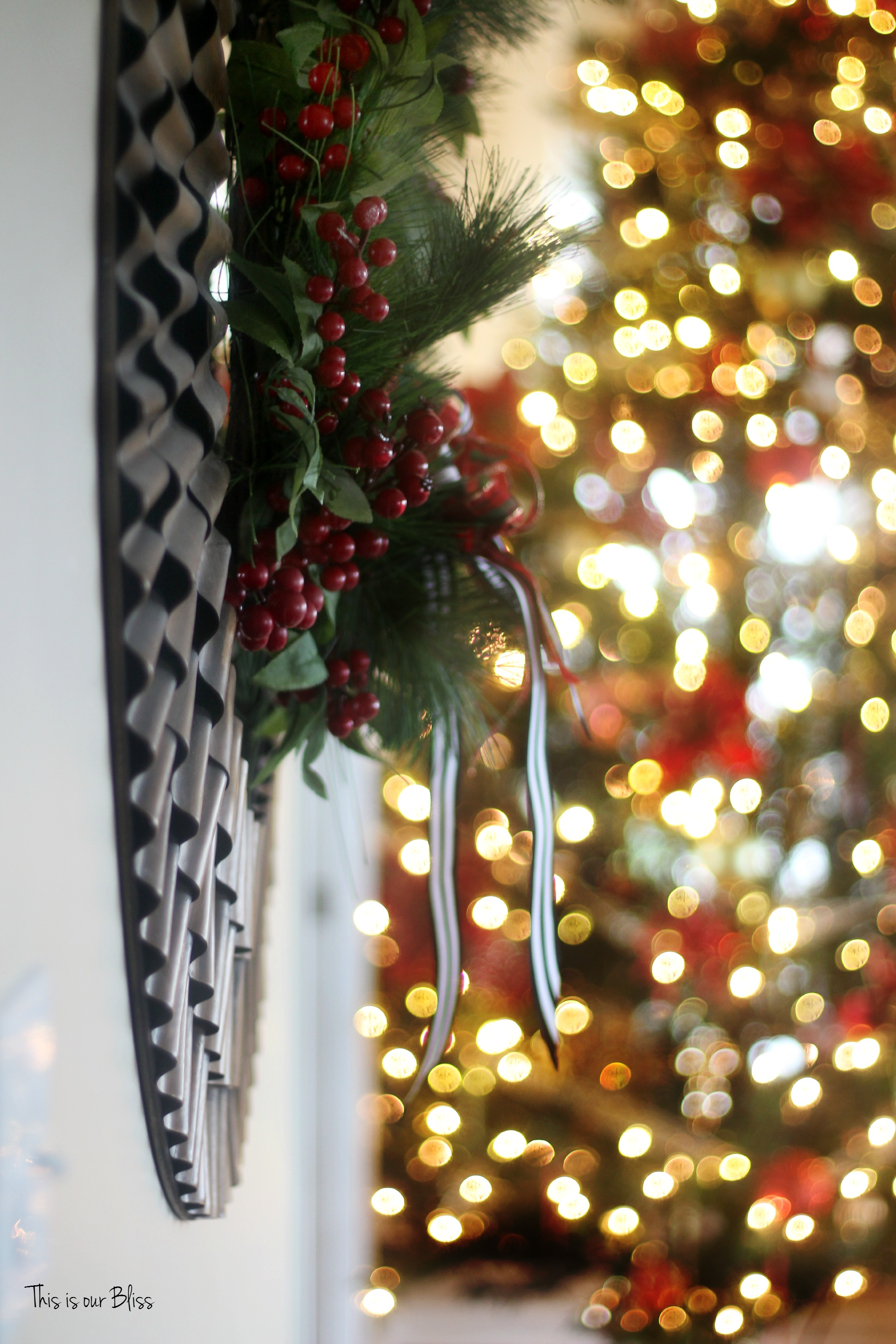 Uncategorized christmas decorations amp holiday decorations - The Goldish Bronze Ruffle Mirror Got Some Wreath Treatment And A Few Added Plaid Striped Ribbons Made It Feel Right At Home