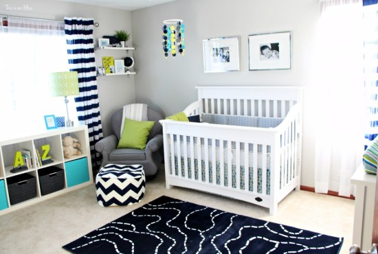 Simon's bright and bold nursery - baby boy nursery - little boy navy lime green and gray room - thisisourbliss.com