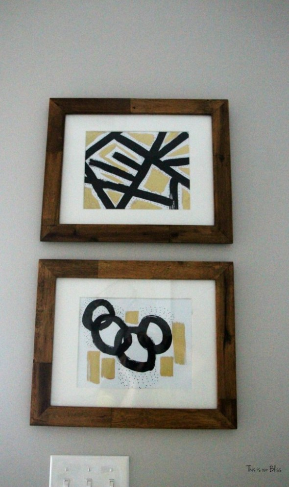 Basement Bathroom Reveal | black white and gold bathroom art | DIY Abstract art | wood frames || This is our Bliss