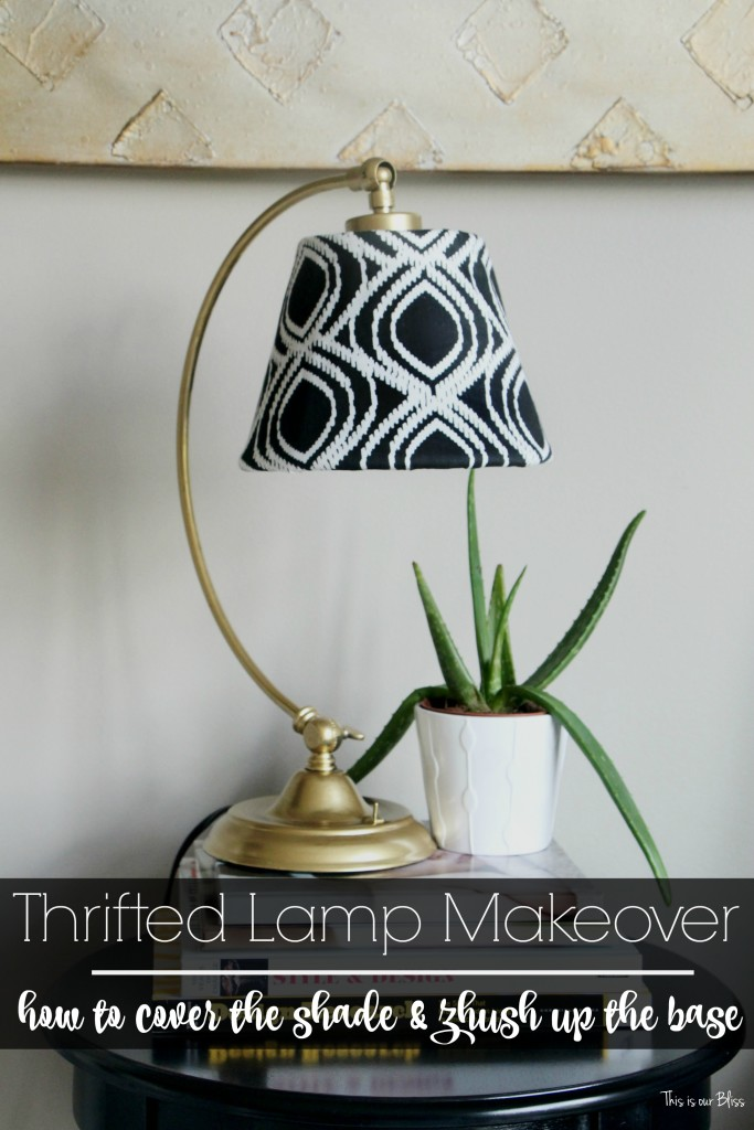 its cool monthly thrift challenge Lampshade redo how to recover an old lampshade black white and gold decor DIY lampshade || This is our Bliss