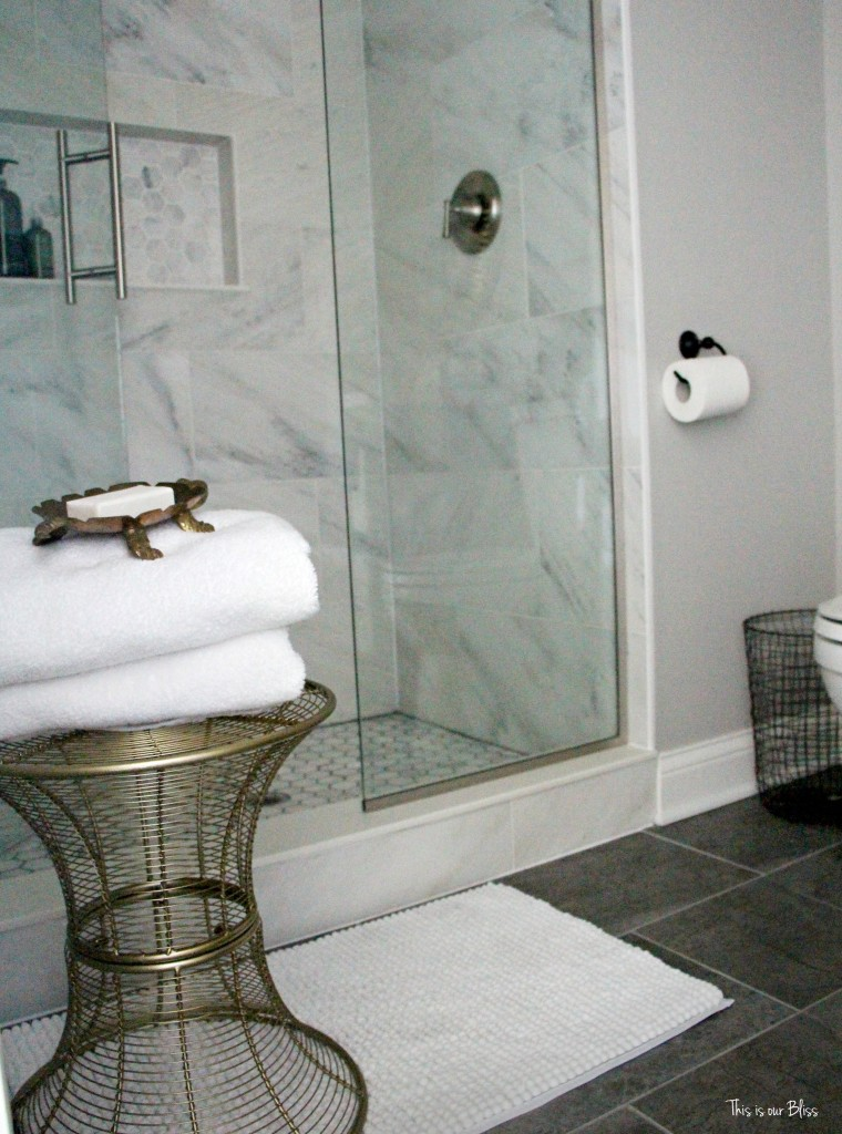 basement bathroom reveal marble shower white gray gold and black bathroom This is our Bliss