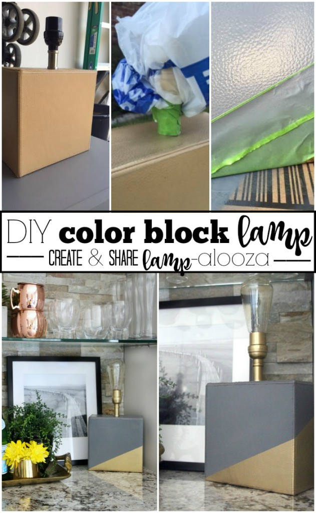 DIY color block lamp | create and share lampalooza | gray and gold | thrifted lamp makeover | This is our Bliss