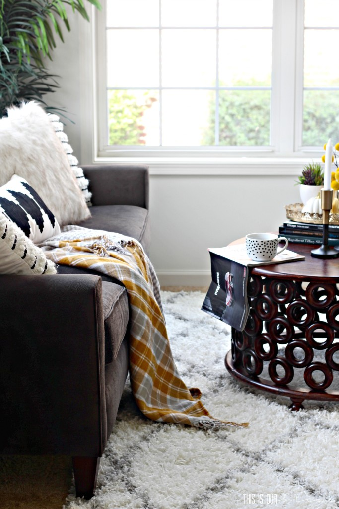 Neutral Glam Living Room decorated for fall | This is our Bliss | www.thisisourbliss.com