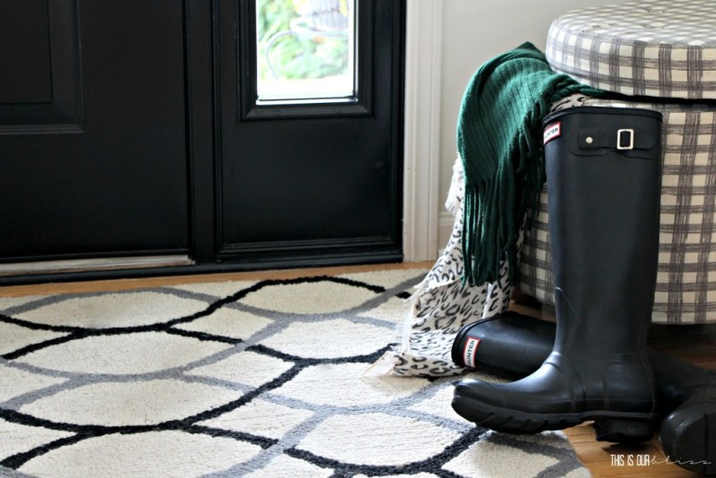 Fall front entryway with classic black hunter boots | This is our Bliss | www.thisisourbliss.com