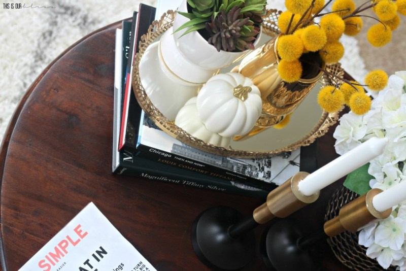 Coffee table styling perfect for fall with white pumpkins!! | This is our Bliss | www.thisisourbliss.com