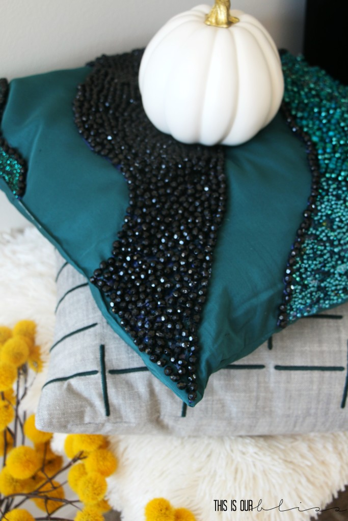 West Elm Inspired beaded pillow | DIY beaded pillow | This is our Bliss | www.thisisourbliss.com