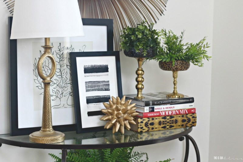 Swap It Like It's Hot Thrift Challenge | Patterned & Brass Faux Plant Stand | This is our Bliss
