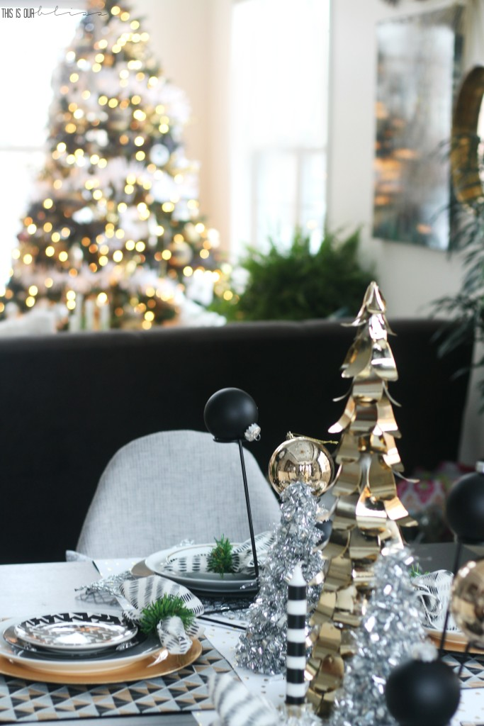 A Merry and Metallic Christmas Home | 12 Days of Holiday Homes Tour 2016: This is our Bliss Christmas Living Room | Christmas Living Room Tree with Dining Room Table sneak peek || www.thisisourbliss.com
