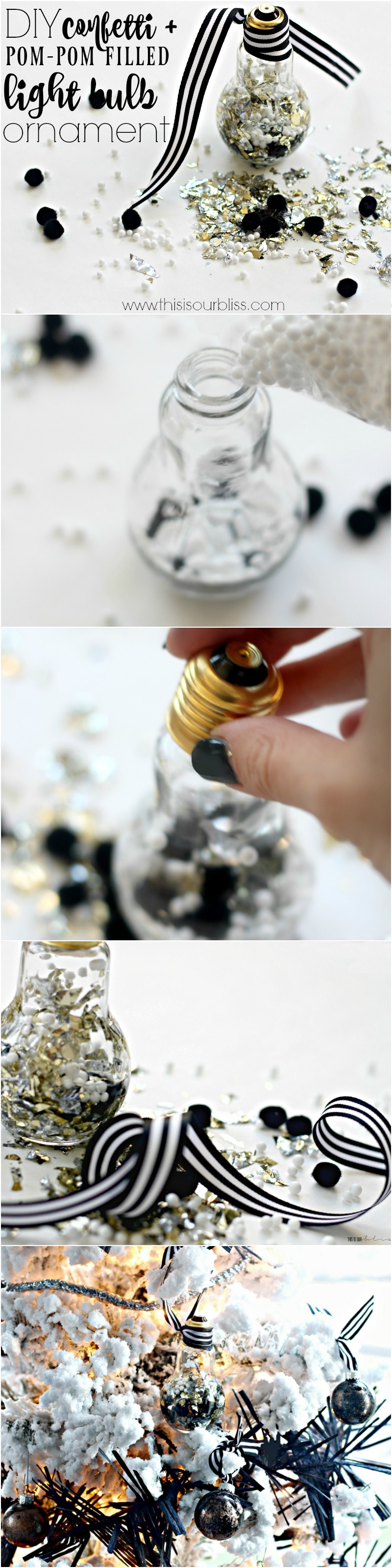 This is our Bliss: DIY Foil Confetti + Pom-pom + snow-filled Light Bulb Ornament | Eclectic Ornaments of Christmas Hop || www.thisisourbliss.com