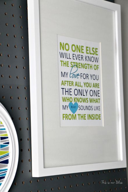 Nursery word art - displayed on nursery pegboard - gallery wall - This is our Bliss