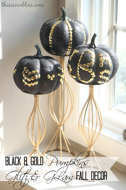 DIY Black & Gold pumpkins w Dollar Store thumb tacks glitz & glam fall decor
