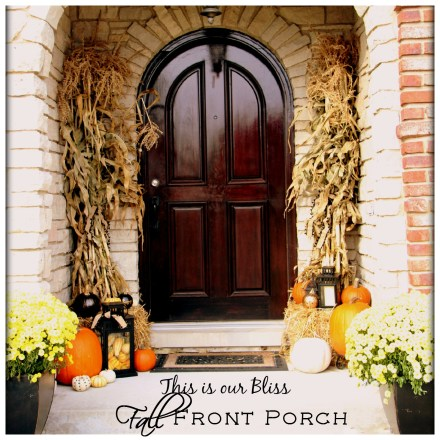 Fall front porch - a touch of gold - painted pumpkins & lanterns & hay & cornstalks - DIY 7