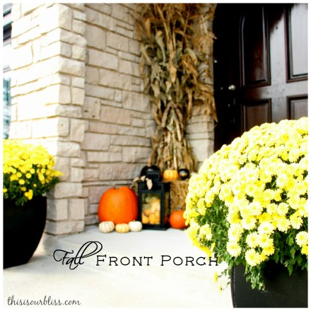Fall front porch - a touch of gold - painted pumpkins & lanterns & hay & cornstalks - DIY 8