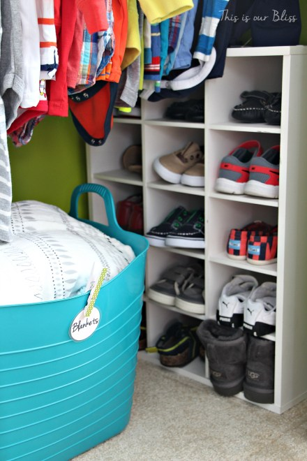 Baby boy nursery closet - DIY nursery decor - navy green gray - This is our Bliss 3