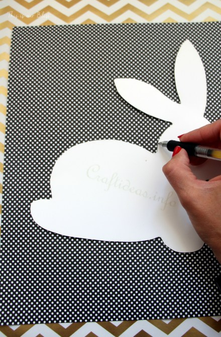 Bunny printable - trace onto paper - cut out to use as a stencil - Chic Easter art - black white and gold - polka dot gold foil - This is our Bliss
