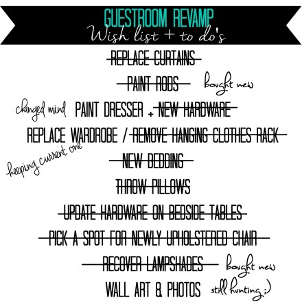 Guestroom Revamp check list week 5 - This is our Bliss