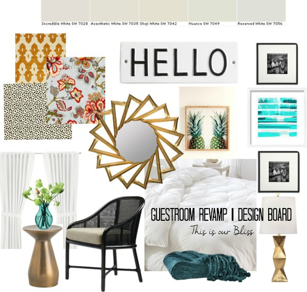 Guestroom Revamp Design board | One Room Challenge | Spring 2015 | This is our Bliss