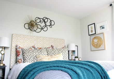 Guestroom revamp - full bed & wall view - This is our Bliss