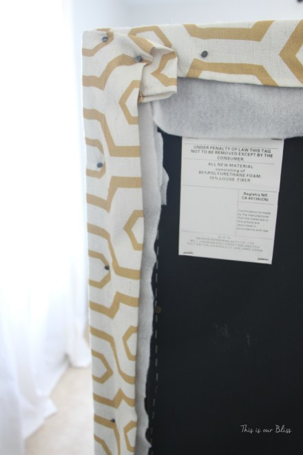 how to reupholster a headboard with a curtain panel - tack up and down sides and top of headboard - this is our bliss