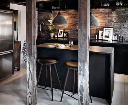 industrial stacked stone dark wood bar