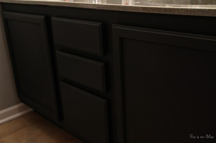 painted bathroom vanity - Annie Sloan graphite - This is our Bliss