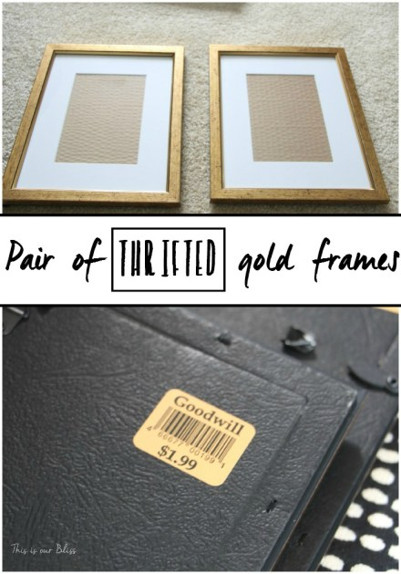Pair of thrifted gold frames - goodwill frame find - this is our bliss