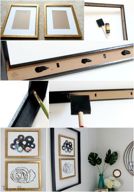 Framing a frame - framing frames - small gallery wall - Guestroom revamp - Minted art - This is our Bliss