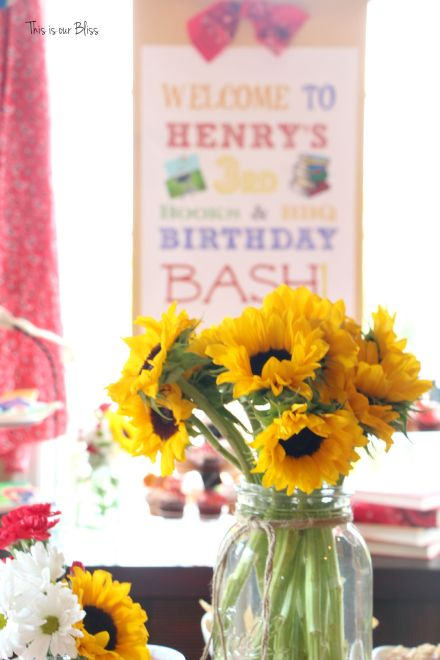 Books & BBQ birthday bash - 3rd birthday party - summer party - table set-up - red gingham - sunflowers & mason jars - This is our Bliss