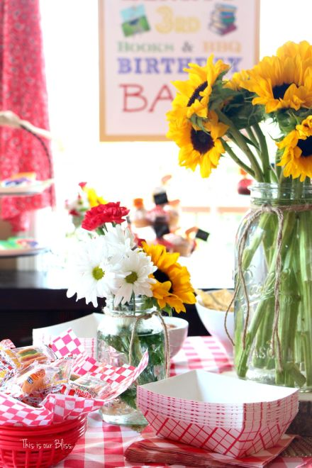 Books & BBQ birthday bash - 3rd birthday party - summer party - table set-up - red gingham - This is our Bliss
