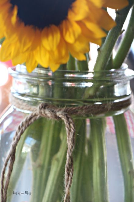Books & BBQ birthday bash - summer birthday party - 3rd birthday party - sunflowers twine mason jars - This is our Bliss