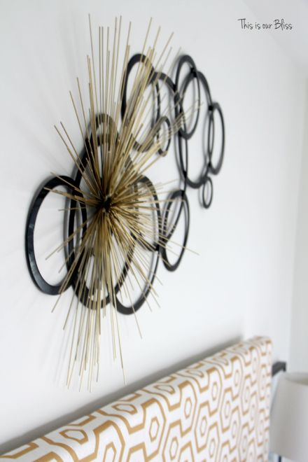 layered metal wall decor - unique wall art - Guestroom revamp - This is our Bliss