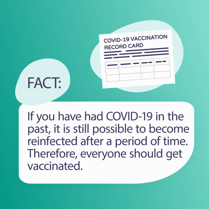 If you have had COVID-19 in the past, it is still possible to become reinfected after a period of time. Therefore, everyone should get vaccinated.