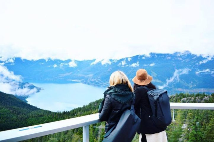 Girls looking out at Howe Sound Bay and Mountains at the top of the Sea to Sky Gondola