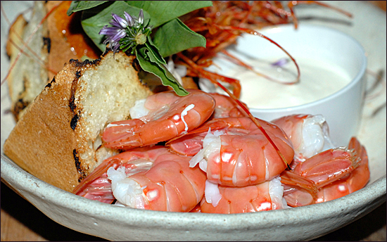 spot prawn dish from Burdock and Co
