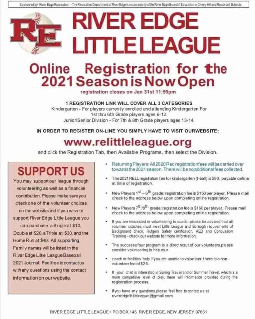 River Edge Little League Registration 2021