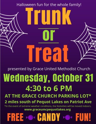 Grace United Methodist Church, Pequot Lakes, Trunk or Treat, Brainerd Lakes Area