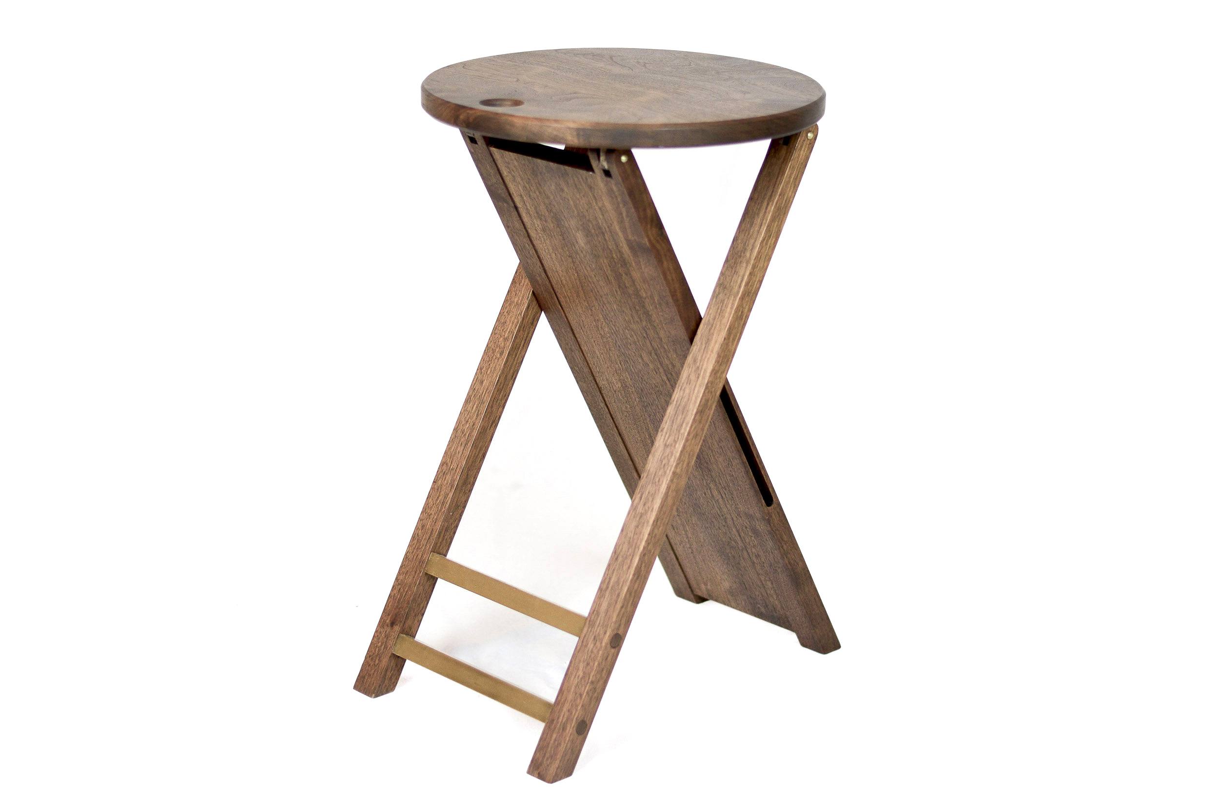 Walnut and brass folding stool