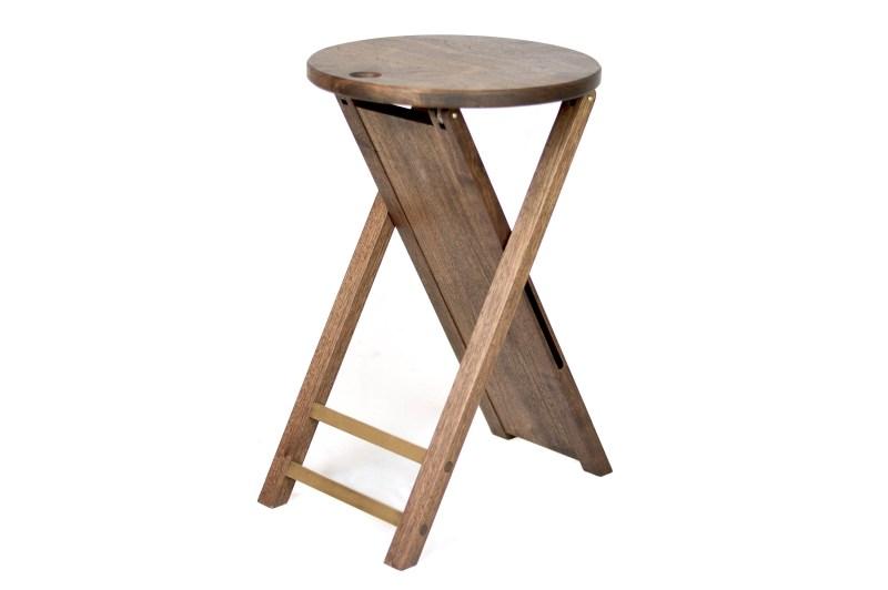 Walnut and brass folding stool