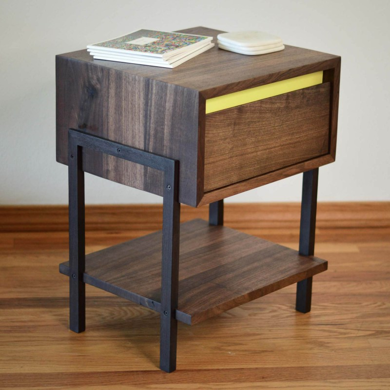 Walnut Side or Coffee Table with lemon yellow accent