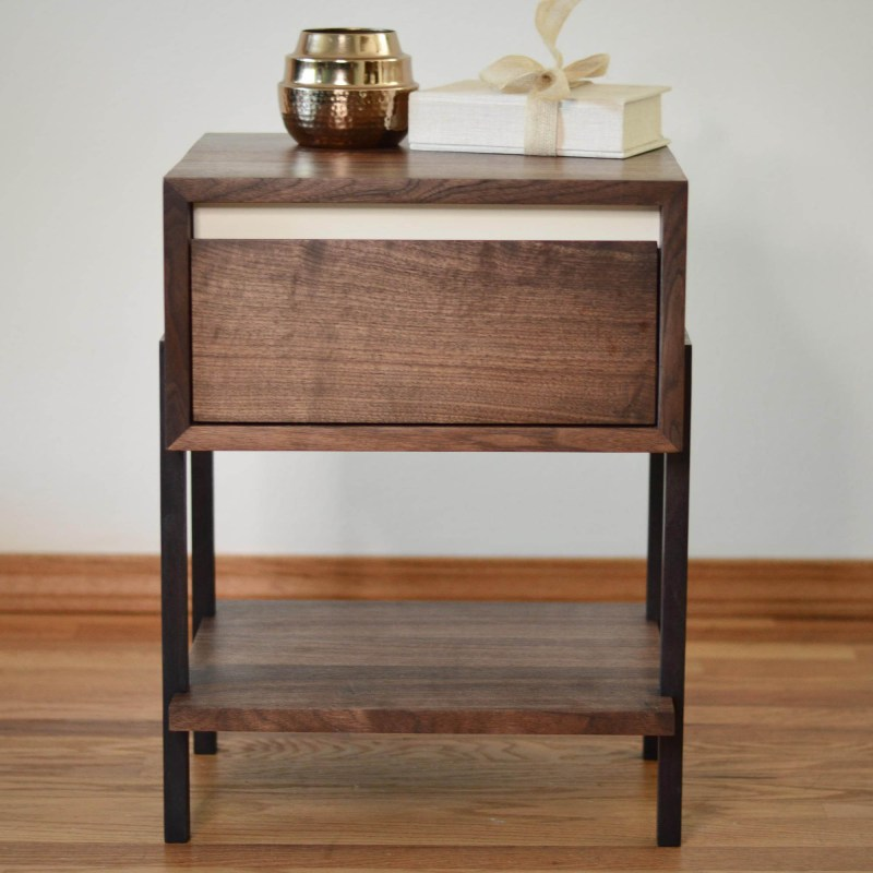 Walnut Side or Coffee Table with White Accent