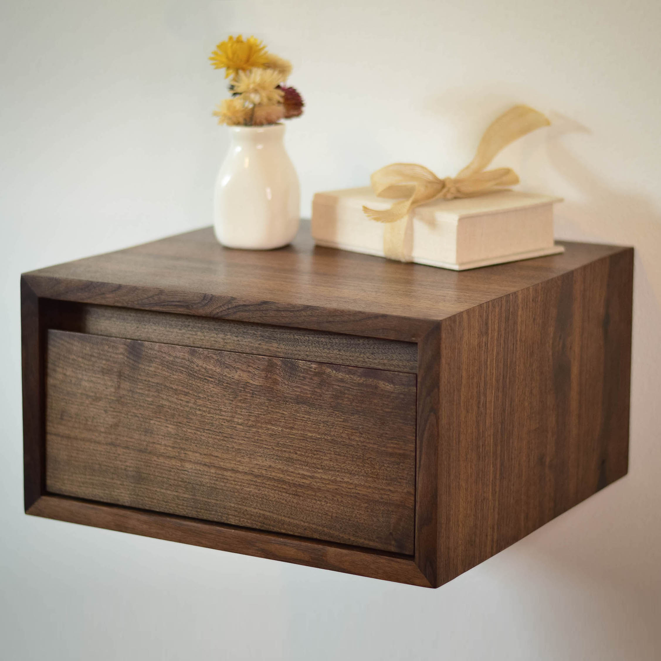 Floating walnut side table or night stand