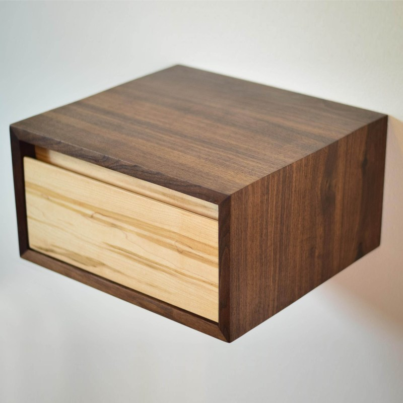 Floating walnut and ambrosia maple side table or night stand