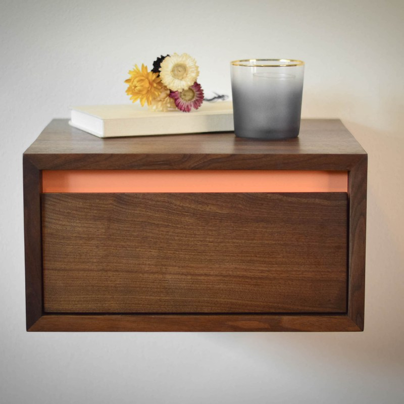 Floating walnut side table or night stand with peach accent