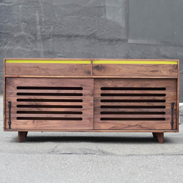 Walnut Hardwood Dog Crate with lemon yellow accent