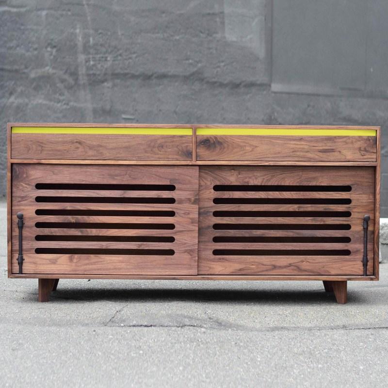 Walnut Hardwood Dog Crate with lemon yellow accent