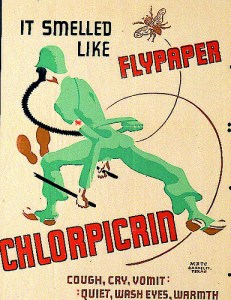 CHLORPICRINEngineered into a weapon in 1917, this gas wasn't as powerful and as deadly as others. It created intense nausea in victims, forcing soldiers exposed to remove their gasmasks to throw up. When used as an additive to other gases, small doses could force soldiers lift their respirators leaving them exposed to worse exposure.