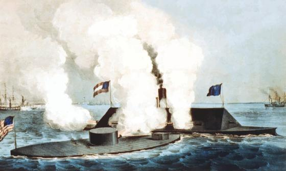 The Battle of Hampton Roads was history's first clash between ironclad warships. The USS Monitor (left) and the CSS Virginia (right) fought each other to a draw in 1862.